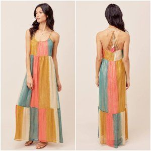 Lovestitch Flynn Rainbow Chiffon Maxi Dress